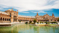 Famous landmark - Plaza de Espana in Seville, Andalusia, Spain Royalty Free Stock Photo