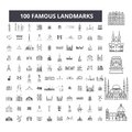 Famous landmarks editable line icons, 100 vector set, collection. Famous landmarks black outline illustrations, signs