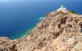 Famous lighthouse of faros on santorini island greece Royalty Free Stock Photography