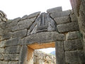 The Famous Lion Gate at the Archaeological Site of Mycenae, Peloponnese, Greece Royalty Free Stock Photo