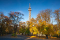 Famous lookout tower on petrin hill in prague autumn Royalty Free Stock Photography