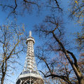 Famous lookout tower on petrin hill in prague autumn Stock Photography