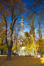 Famous lookout tower on petrin hill in prague autumn Stock Image
