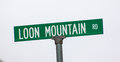 Famous loon mountain road sign for the ski resort in lincoln nh Royalty Free Stock Photo