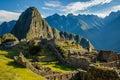 Famous Machu Picchu ruins, near Cuzco, Peru Royalty Free Stock Photo