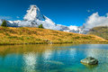 Famous Matterhorn peak and Leisee alpine glacier lake,Valais,Switzerland Royalty Free Stock Photo