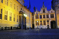 Gate to Burg, Bruges, by night Royalty Free Stock Photo