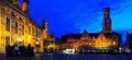 Panorma of Burg, Brugge. Royalty Free Stock Photo