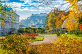 Famous Mirabell Gardens with historic Fortress in Salzburg, Austria Royalty Free Stock Photo