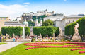 Famous mirabell gardens in salzburg austria with the old historic fortress hohensalzburg the background Royalty Free Stock Photography