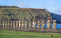 Famous moais of tongariki moai easter island at hystoric site Stock Photography
