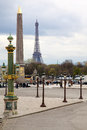 Famous monuments in paris the eiffel tower as well as the obeli obelisk which was given to napoleon by an egyptian pharaoh a long Royalty Free Stock Image
