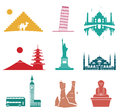 Famous monuments travel icons. Royalty Free Stock Photo