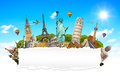 Famous monuments of the world with blank torn paper Royalty Free Stock Photo