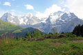 The famous mountains Eiger, Mönch and Jungfrau in Switzerland Royalty Free Stock Photo