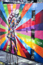 Famous mural new york city a by artist brazilian artist kobra october in ny the colorful is based on alfred eisenstaedt s photo Stock Photography