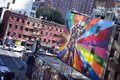 Famous mural new york city a by artist brazilian artist kobra october in ny the colorful is based on alfred eisenstaedt s photo Royalty Free Stock Images