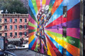 Famous mural new york city a by artist brazilian artist kobra october in ny the colorful is based on alfred eisenstaedt s photo Royalty Free Stock Photos
