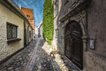 Famous narrow medieval architecture building street in old town Royalty Free Stock Photo