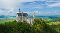 Famous neuschwanstein castle beautiful summer view of the bavaria germany panorama Royalty Free Stock Photos