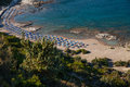 Famous nudist beach in Faliraki. Top view of the beach in Rhodes Royalty Free Stock Photo