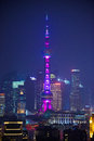 Famous Oriental Pearl radio and TV tower in Shanghai at night Royalty Free Stock Photo