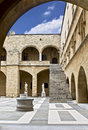 Famous palace of the Knights at Rhodes, Greece Royalty Free Stock Images