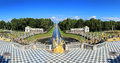 Famous petergof fountains in st petersburg russia panorama Stock Images