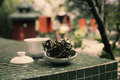 Famous phoenix oolong tea traditional way of brewing feng huang dan cong in a temple on cheung chau island hong kong Stock Photo
