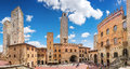 Famous Piazza del Duomo in historic San Gimignano, Tuscany, Italy Royalty Free Stock Photo