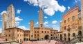 Famous Piazza del Duomo in historic San Gimignano, Tuscany, Italy Royalty Free Stock Photo
