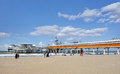 Famous pier at Scheveningen beach, Netherlands Royalty Free Stock Photo