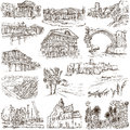 Famous places and architecture - hand drawings Royalty Free Stock Photo