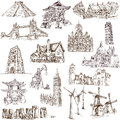 Famous places buildings and architecture around the world set no white collection of an hand drawn illustrations description full Royalty Free Stock Photography