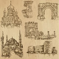 Famous places and buildings no vector pack collection of an hand drawn illustrations originals tracing each drawing comprises Stock Photo