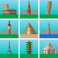 Famous places and landmarks vector illustrations set, modern flat icons collection, Signs, logo illustrations. Royalty Free Stock Photo