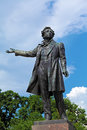 Famous poet alexander pushkin statue saint petersburg near russian art museum Royalty Free Stock Photography