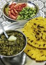 Famous punjabi cuisine - makki di roti and sarson ka saag Royalty Free Stock Photo