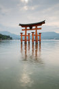 Red tori Miyajima Royalty Free Stock Photo