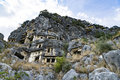 Famous rock-cut Lycian tombs in Myra (Demre), Turkey Royalty Free Stock Photo