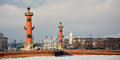 Famous rostral columns in the saint petersburg russia Stock Images