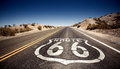 Famous route landmark on the road in californian desert Stock Photography