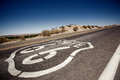 Famous route landmark on the road in californian desert Royalty Free Stock Image