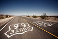 Famous route landmark on the road in californian desert Stock Images