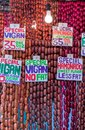 The famous sausages from vigan philippines on a market baguio luzon Royalty Free Stock Photo