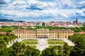 Famous Schonbrunn Palace with Great Parterre garden in Vienna, Austria Royalty Free Stock Photo
