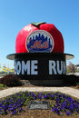 The famous shea stadium home run apple on mets plaza in the front of citi field flushing ny may major league baseball team Royalty Free Stock Image