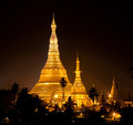 Famous shwedagon pagoda in yangon myanmar view at the night Stock Photo