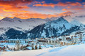 Famous ski resort in the alps les sybelles france europe morning landscape and french la toussuire Royalty Free Stock Images