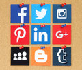 Famous social media pinned on cork bulletin board
